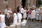 Following their Baptism at St Dyfrigs Church Pontypridd on 3rd August 2008, Kierra, Bethany, Luke & Jack Dwyer along with Cousin Harry Stafford release 5 white doves as a sign of Faith and Hope for the future.